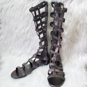 Marc Fisher Gray Knee High Gladiator Sandals
